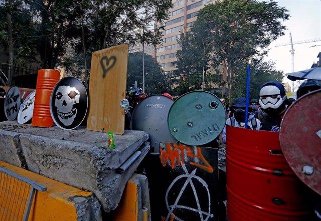 Dia 58 de manifestaciones en Plaza Italia, en Santiago de Chile