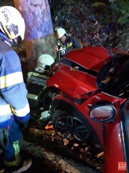 Choque de un coche contra un árbol en Lamadrid