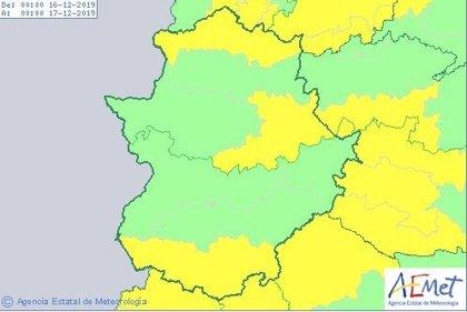 Avisos por vientos este lunes en Villuercas, sur y norte de Extremadura, donde también lloverá con fuerza