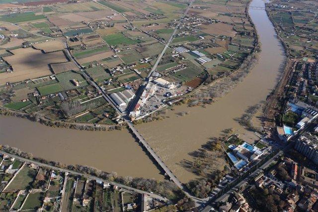 Vista aérea del río Ebro en Tudela