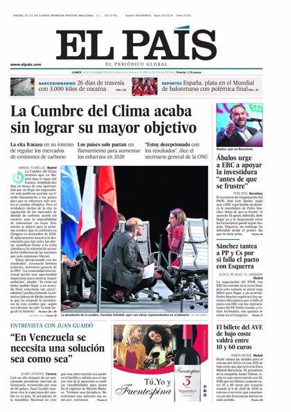 Las portadas de los periódicos de este lunes 16 de diciembre