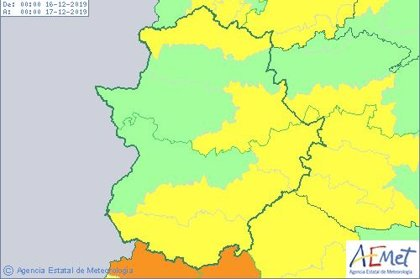 El viento pone en riesgo este lunes a sur, este y norte de Extremadura, donde también lloverá con fuerza