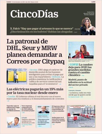 Las portadas de los periódicos económicos de hoy, lunes 16 de diciembre