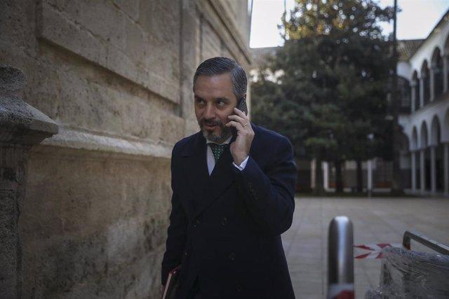 Segunda jornada del debate final del proyecto de Ley de Presupuestos de la Comunidad Autónoma para 2020 en el Parlamento de Andalucía.El consejero de Hacienda, Juan Bravo, a su llegada al pleno.  En Sevilla, a 12 de diciembre de 2019.