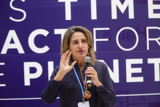 La ministra para la Transición Ecológica en funciones, Teresa Ribera, en la duodécima jornada de la Cumbre del Clima (COP25) de Madrid
