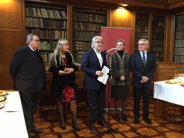 El president de Foment del Treball, Josep Sánchez Llibre, en roda de premsa aquest dilluns.