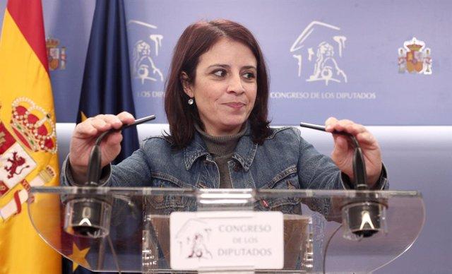 La portaveu del PSOE al Congrés, Adriana Lastra, en roda de premsa després de les reunions del president del Govern central en funcions, Pedro Sánchez, amb els líders del PP i Ciutadans a Madrid (Espanya), a 16 de desembre del 2019.