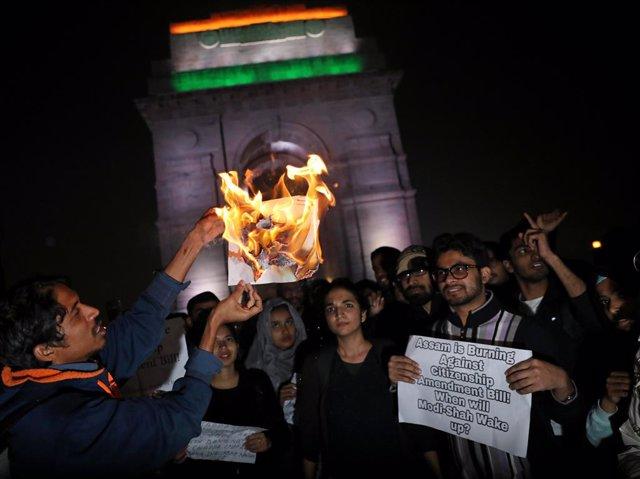 Protestes a Nova Delhi contra la llei de ciutadania.