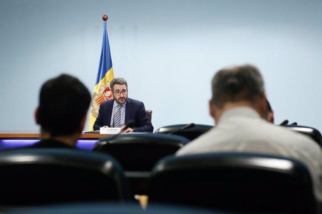 El ministre de Finances i Portaveu, Eric Jover, en la roda de premsa d'aquest dimecres