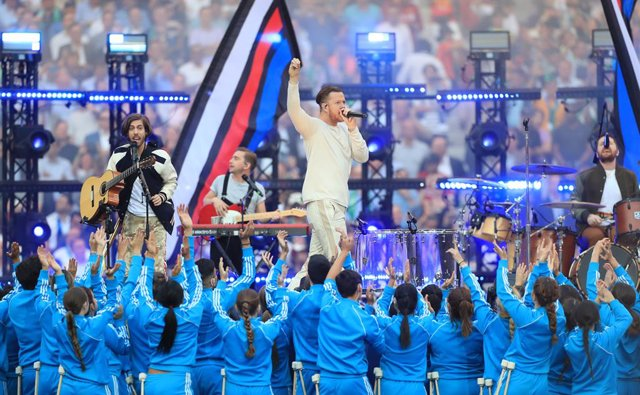 01 June 2019, Spain, Madrid: Imagine Dragons perform before kick off during the UEFA Champions League