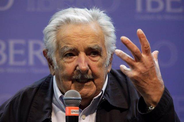 El expresidente de Uruguay,  José Mujica, durante una conferencia en Ciudad de México.