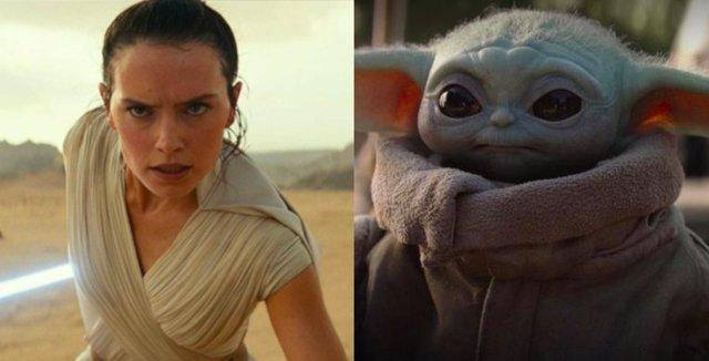 Rey y Baby Yoda, personajes de Star Wars