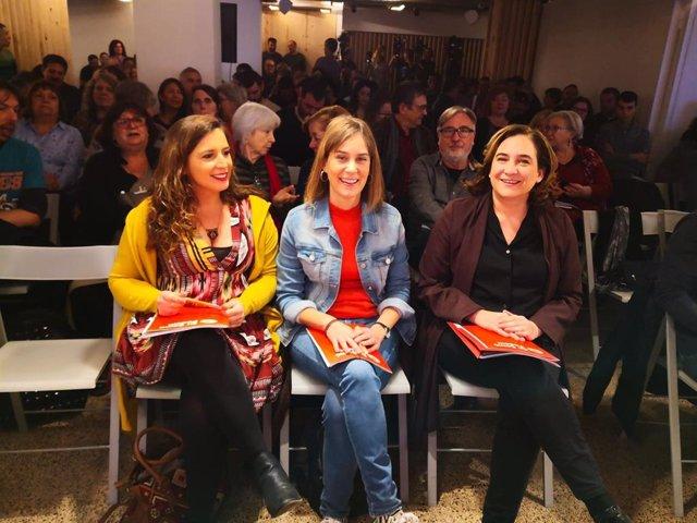 Candela López, Jéssica Albiach i Ada Colau en el Consell Nacional dels comuns.