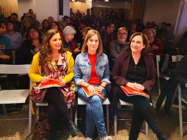 Candela López, Jéssica Albiach i Ada Colau en el consell nacional dels comuns el 21 de desembre del 2019.