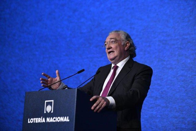 El president de la societat estatal de Loteries i Apostes de l'Estat,  Jesús Horta en la presentació del sorteig extraordinari de Nadal a la Real Casa de la Moneda, Madrid (Espanya), 14 de novembre del 2019.
