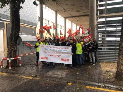 Seguimiento de entre el 30% y 50% en el primer día de huelga en la principal empresa de VTC operadora de Uber en Sevilla