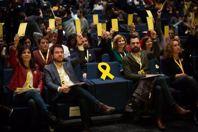 Marta Vilalta, Pere Aragonès, Roger Torrent y Ester Capella en el Congreso Nacional de ERC