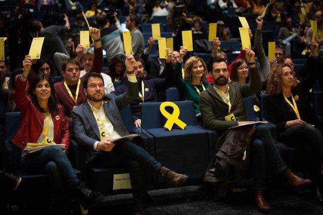 Marta Villata, Pere Aragonès, Roger Torrent i Ester Capella al Congrés Nacional d'ERC el 21 de desembre del 2019.