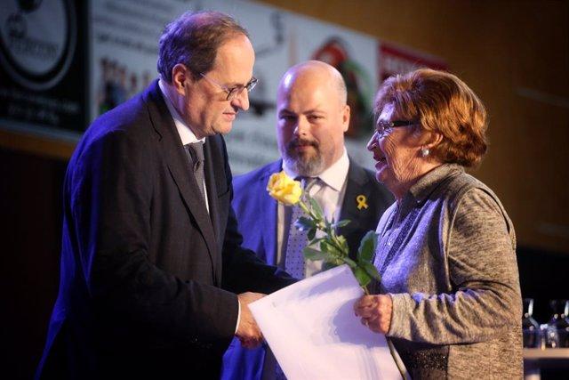 El president de la Generalitat, Quim Torra, en un acte d'homenatge als exiliats de Banyoles