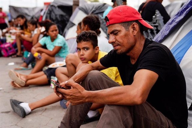 Refugio de migrantes en Matamoros, México.