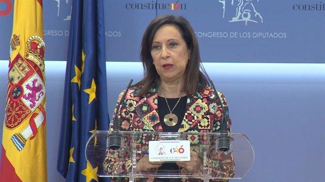 La portaveu parlamentària del grup socialista, Margarita Robles, al Congrés dels Diputats