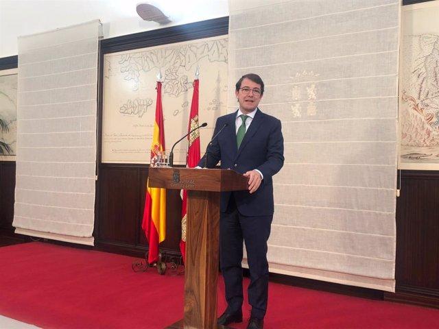 El president de la Junta de Castella i Lleó, Alfonso Fernández Mañueco, en la presentació del seu Govern