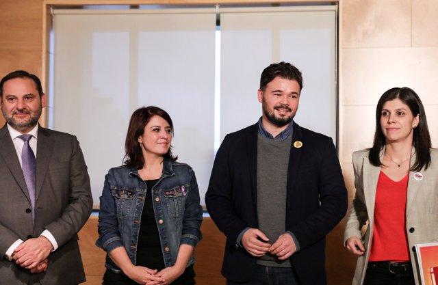 Reunión entre PSOE y ERC de cara a la investidura de Pedro Sánchez