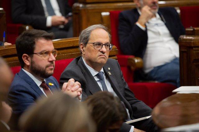 El president de la Generalitat, Quim Torra, i el vicepresident, Pere Aragonès, en el ple del Parlametn del 13 de novimebre de 2019. Foto d'arxiu