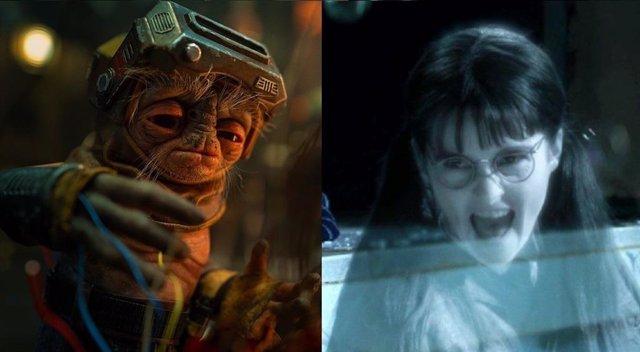 Babu Frik (Star Wars), doblado por la actriz de Myrtle la Llorona (Harry Potter)