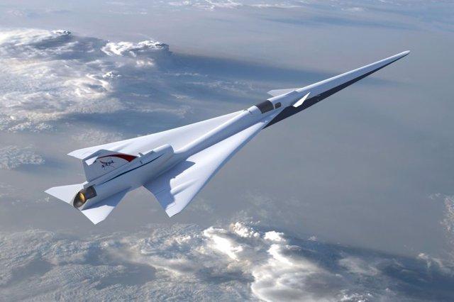 Recreación artística del X 59 Quiet Supersonic Transport (QueSST)