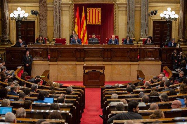 Hemicicle del Parlament de Catalunya durant una sessió plenria