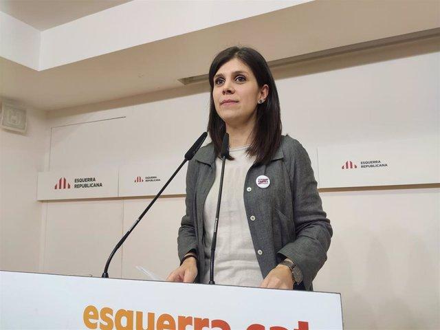 La portavoz de ERC, Marta Vilalta, en rueda de prensa tras la reunión de la Ejecutiva del partido el 30 de diciembre de 2019.