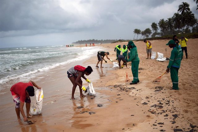 Empleados municipales y voluntarios trabajan para retirar manchas de petróleo en una playa de Camacari, municipio de Bahía, en el oeste del país.