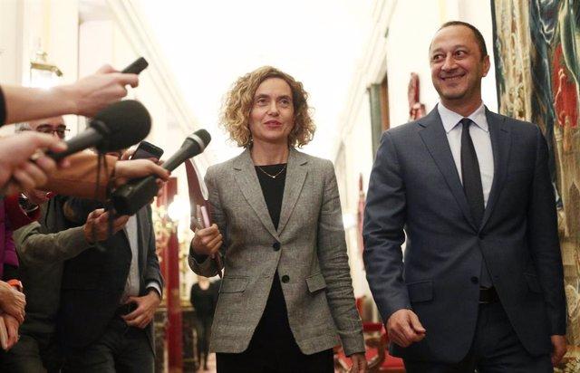 La presidenta del Congrés dels Diputats, Meritxell Batet  i el vicepresident primer del Congrés, Alfonso Rodríguez Gómez de Celis, a la seva arribada a la reunió de la Taula del Congrés dels Diputats, a Madrid (Espanya), a 23 de desembre de 2019.