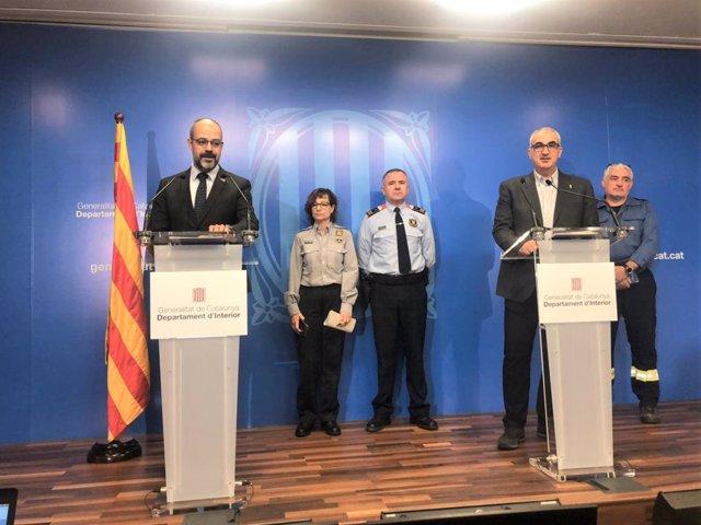 El conseller d'Interior de la Generalitat, Miquel Buch, i el director del SCT, Juli Gendrau