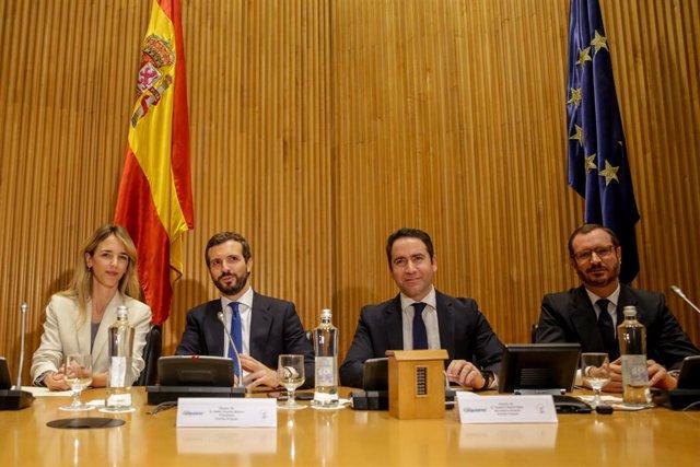 (E-D) La portaveu del Partit Popular al Congrés, Cayetana Álvarez de Toledo; el president del Partit Popular, Pablo Casado; el secretari general del Partit Popular, Teodoro García Egea i el portaveu del PP en el Senat, Javier Maroto.