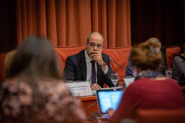 El conseller d'Interior, Miquel Buch en la comissió d'Interior, al Parlament de Catalunya, a Barcelona (Espanya), 4 de desembre del 2019.