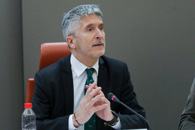 El ministre de l'Interior en funcions, Fernando Grande-Marlaska, durant la presentació del balanç de sinistralitat vial del 2019 a la seu de la Direcció general de trànsit.