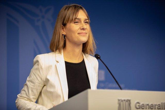 La presidenta de CatECP en el Parlament, Jèssica Albiach, ofereix una roda de premsa, Barcelona (Catalunya, Espanya), a 16 de desembre de 2019.