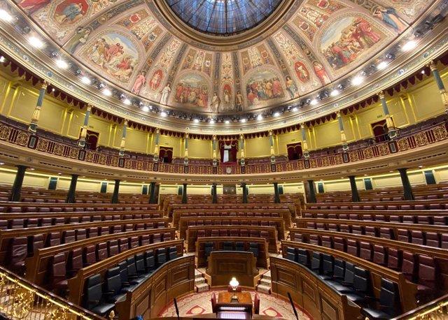 Vista general de l'hemicicle del Congrés dels Diputats