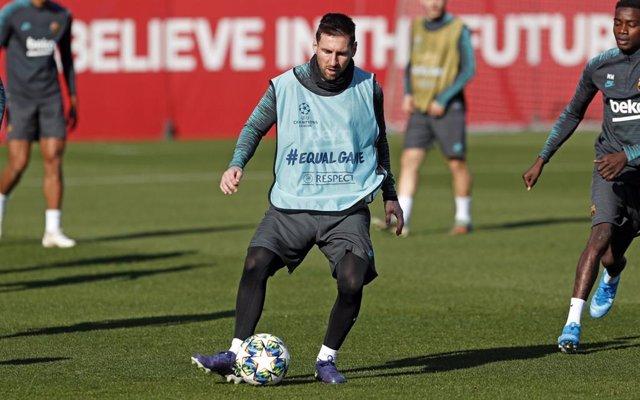 Leo Messi, en l'entrenament del FC Barcelona del 9 de desembre del 2019