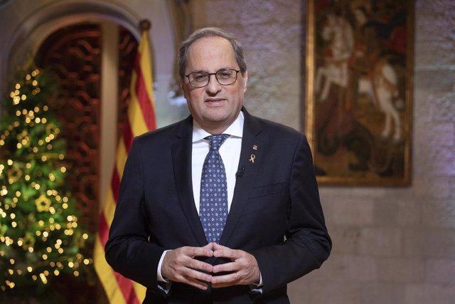 El president de la Generalitat, Quim Torra, en el seu missatge institucional de finalització d'Any, el 30 de desembre de 2019 en el Palau de la Generalitat de Catalunya, a Barcelona