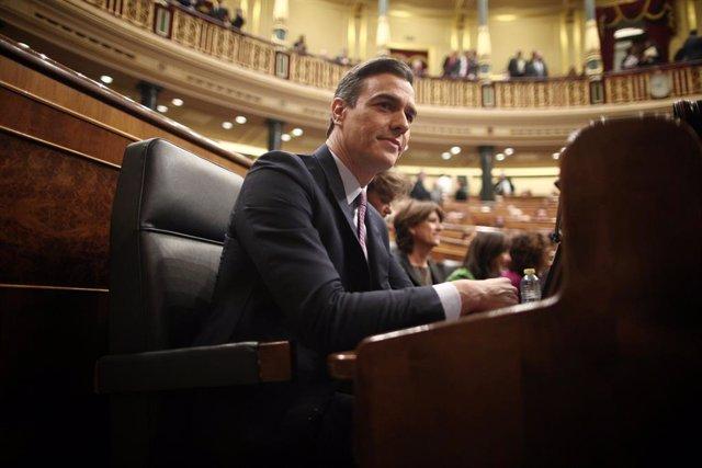 El president de Govern en funcions i secretari general del PSOE, Pedro Sánchez, assegut en el seu escó al Congrés dels Diputats abans de la primera sessió del debat de la seva investidura en la XIV Legislatura a Madrid (Espanya), 4 de gener del 2020.