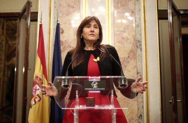 La portaveu parlamentària de Junts per Catalunya (JxCat), Laura Borràs, ofereix una roda de premsa al Congrés.