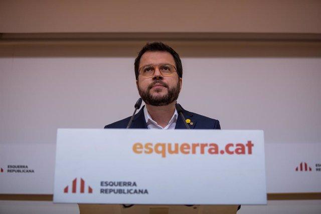 El vicepresident de la Generalitat i coordinador nacional d'ERC, Pere Aragonès, ofereix una roda de premsa després d'una reunió extraordinària de l'executiva d'Esquerra Republicana.