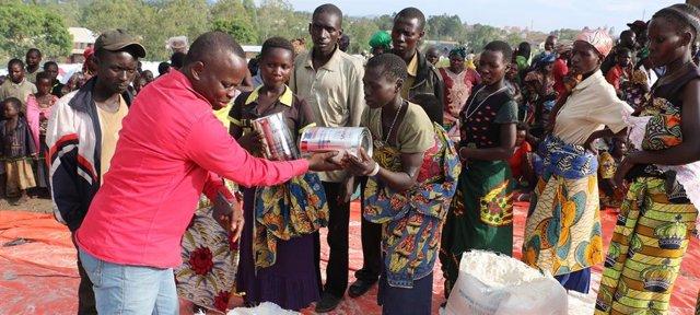 Distribución de alimentos por el PMA en Ituri