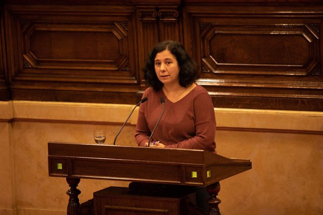 La portaveu de CatECP en el Parlament, Susanna Segvia, intervé durant un ple extraordinari en el Parlament convocat després de la decisió de la Junta Electoral Central (JEC) d'inhabilitar-li a Barcelona (Catalunya, Espanya), a 4 de gener de 2020.