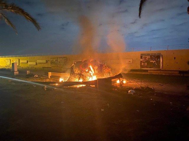 Imagen del ataque aéreo contra el general Qasem Soleimani.