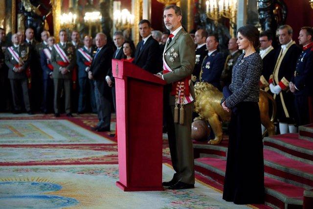 Els Reis en la celebració de la Pasqua Militar de l'any 2019