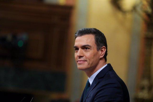 El president del Govern en funcions, Pedro Sánchez, durant la seva intervenció en el torn de rplica al Grup Mixte del Congrés